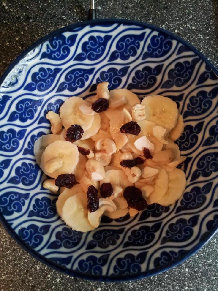 Bodem van noten en banaan