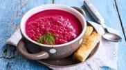 Recept rode bietensoep met gember creme fraiche en dille