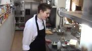 Herfstgerecht risotto met geroosterde pompoen spek en tamme kastanjes