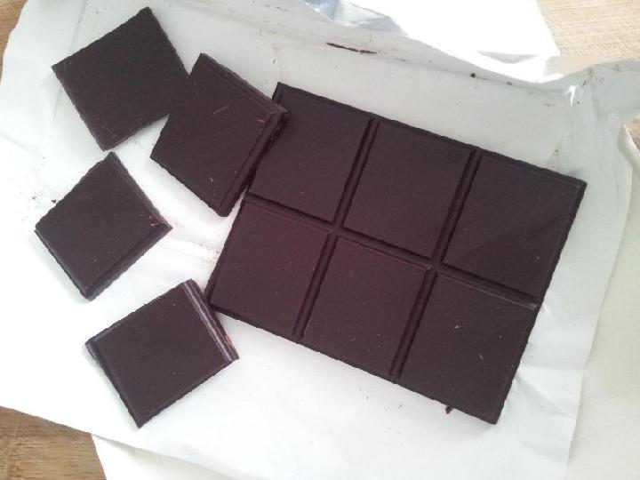Chocolade in stukken breken