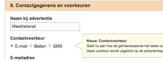 Contactgegevens invoeren
