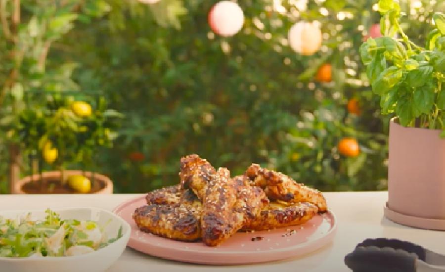 De kippenvleugels van de BBQ halen
