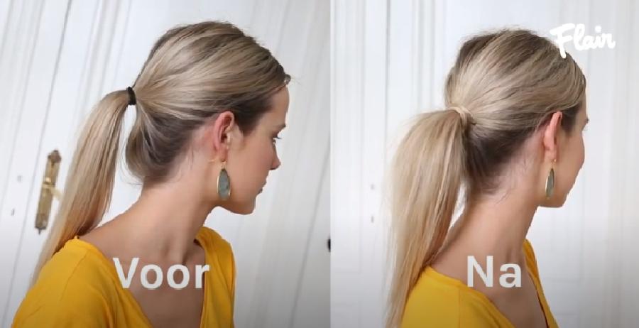 Het elastiek in je paardenstaart kapsel wegwerken
