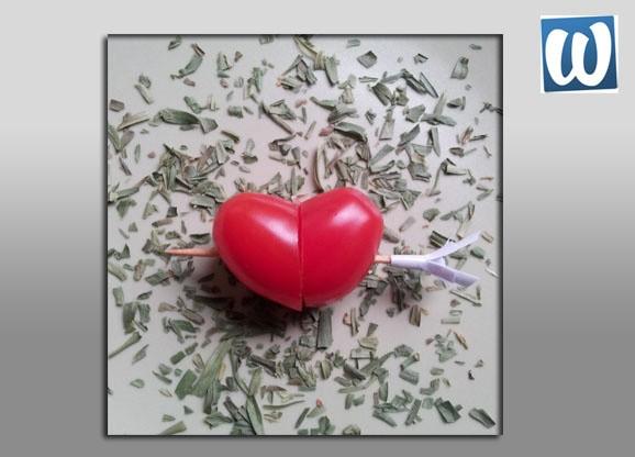 Hartje van tomaat: voor Valentijn of Moederdag.