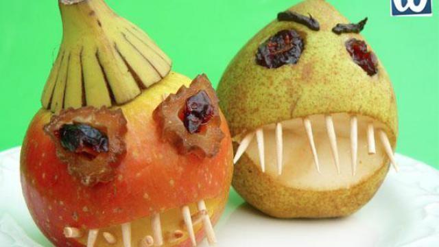 Halloween traktatie: griezelige appels en peren.