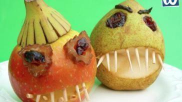 Halloween traktatie griezelige appels en peren