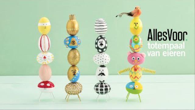 Paasdecoratie-kleurrijke-totempaal-van-eieren-maken
