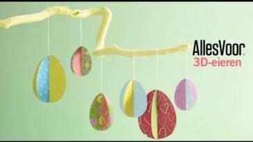 Paasdecoratie maken 3D eieren voor in de Paastak