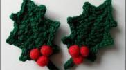 Kerstversiering haken decoratieve hulstblaadjes voor in de kerstboom