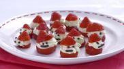 Nagerecht voor Kerst aardbeimannetjes gevuld met vanillemascarpone