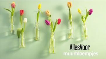DIY Een fleurige wanddecoratie maken met flesjes en bloemen